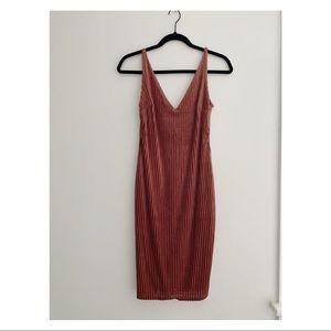Velvet striped slip dress
